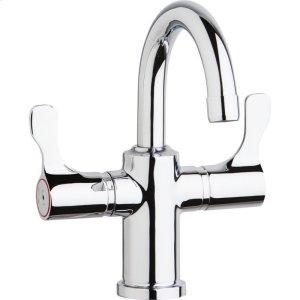"Elkay Single Hole 8-5/8"" Deck Mount Faucet with Gooseneck Spout Twin Lever Handles Chrome Product Image"