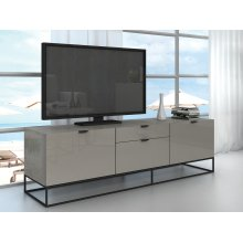 The Vizzione High Gloss Light Gray Lacquer Entertainment Centers