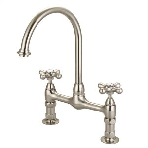 Harding Kitchen Bridge Faucet with Metal Button Cross Handles - Brushed Nickel Product Image