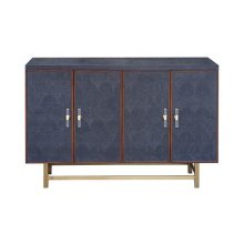 Four Door Cabinet With Fishscale Navy Faux Shagreen and Wood Trim