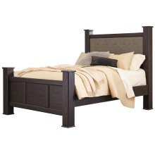 QUEEN UPHOLSTERED POSTER BED