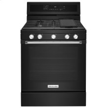 30-Inch 5-Burner Gas Convection Range Black