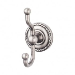 Edwardian Bath Double Hook Rope Backplate - Antique Pewter Product Image