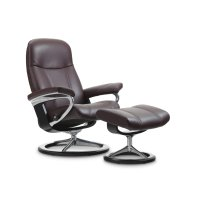 Stressless Consul Medium Signature Base Chair and Ottoman Product Image