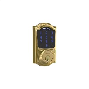 Schlage Connect Smart Deadbolt with alarm with Camelot Trim, Z-wave enabled - Bright Brass Product Image