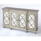 This vintage-inspired sideboard is a striking addition to any living room, dining room or entryway. It boasts a glamorous silver finish with four lattice overlaid mirrored door panels. Crafted from rubberwood solids and wood products, it has an interior s Product Image