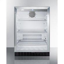 Built-in Undercounter Glass Door Beverage Refrigerator With Digital Controls, Lock, and Black Cabinet
