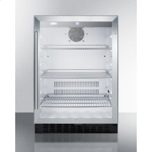Built-in Undercounter Glass Door Beverage Refrigerator With Digital Controls, Lock, and Black Cabinet