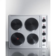 230v 4-burner Electric Cooktop In Stainless Steel With Solid Disk Cast Iron Elements, 5500w