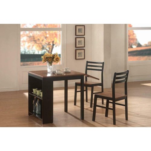 Casual Black and Chestnut Three-piece Dining Set