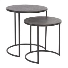 Graphite Metal Round Nesting Table Set