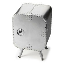 Crafted from polished and riveting aluminum, this shapely Chairside Chest provides convenient storage behind the door. It shimmers for sure a brightest spot that absolutely will not be ignored.