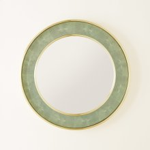Round Shagreen Mirror-Low Country Green