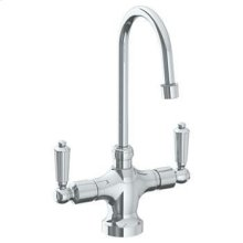 """Deck Mounted 1 Hole Kitchen Faucet With 4 1/2"""" Spout"""