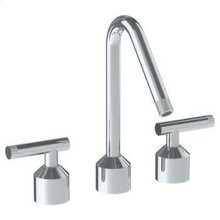 Deck Mounted 3 Hole Kitchen Set With Angled Spout