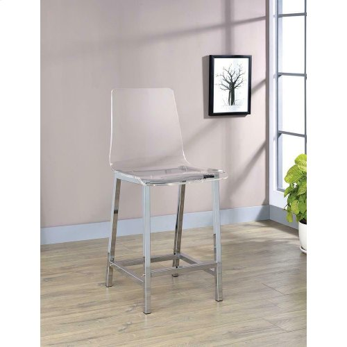 Everyday Contemporary Clear and Chrome Bar Stool
