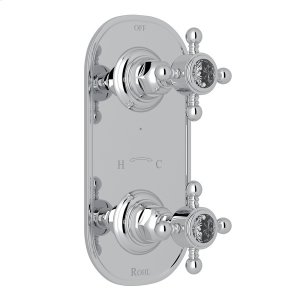 """Polished Chrome Italian Bath 1/2"""" Thermostatic/Diverter Control Trim with Crystal Cross Handles Product Image"""