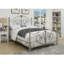 Evita Silver Metal Scrollwork King Bed