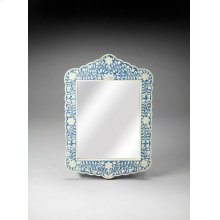 This magnificent Wall Mirror features sophisticated artistry and consummate craftsmanship. The botanic patterns covering the piece are created from white bone inlays cut and individually applied in a sea of blue by the hands of a skillful artisan. No two