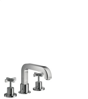 Chrome 3-hole rim mounted bath mixer with cross handles Product Image
