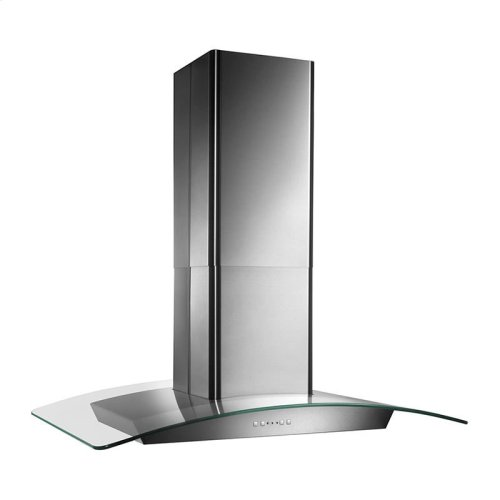 """35-3/8"""" X 25-5/8"""", Island version, Stainless steel, Curved Glass Canopy, 500 CFM, Electronic control"""