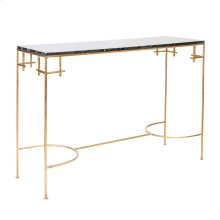Hammered Gold Leaf Console With Black Marble Top.