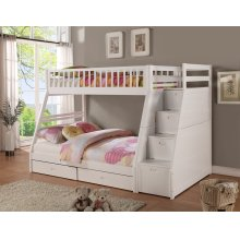 Merlin White Twin over Full Staircase Bunkbed with 2 Storage Drawers