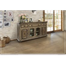 3 Drawer, 2 Glass & 2 Wooden Doors Console