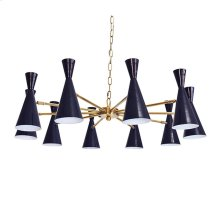 Ten Light Chandelier With Hour Glass Navy Shades In Antique Brass