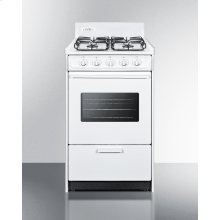 """20"""" Wide Gas Range In White With Sealed Burners, Oven Window, Interior Light, and Electronic Ignition"""
