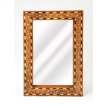This rectangular wall mirror is an extraordinary feat of craftsmanship. Its wondrous botanical design is painstakingly created inlaying bone ™ within a sheesham wood frame ™ one individual piece at a time. Its hand rubbed finish will elegantly blend w