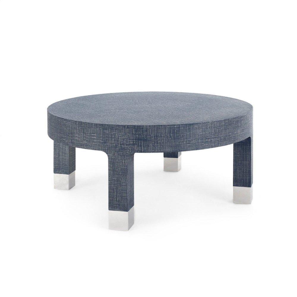 Dakota Round Coffee Table, Navy Blue