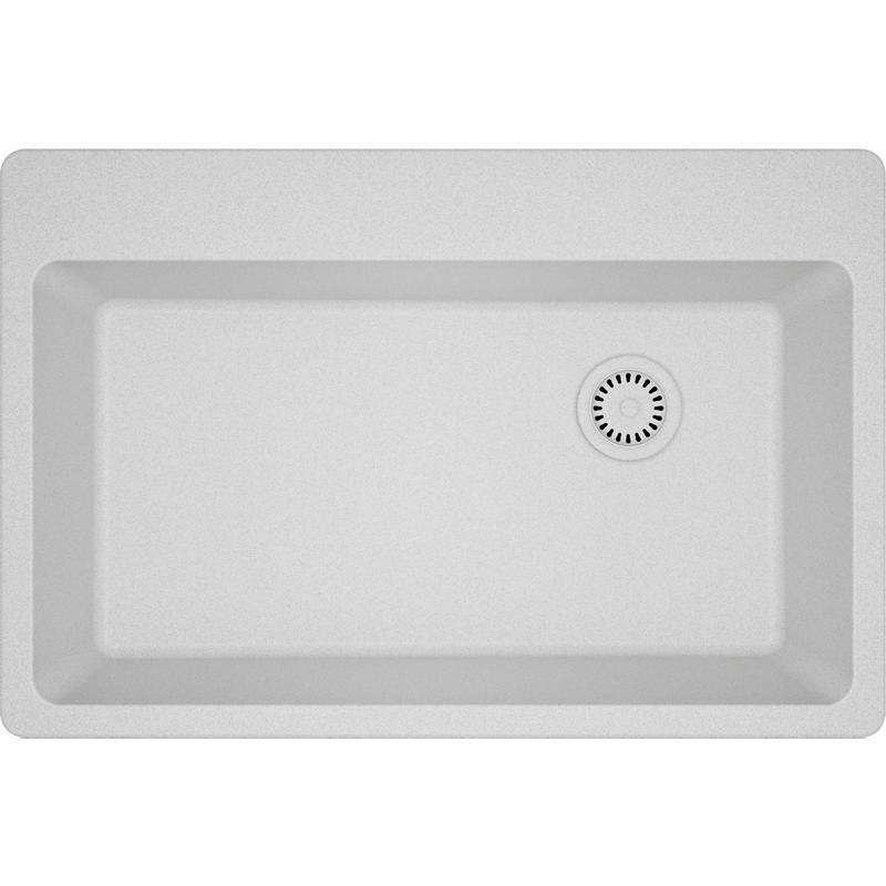 "Additional Elkay Quartz Classic 33"" x 22"" x 9-1/2"", Single Bowl Drop-in Sink, White"