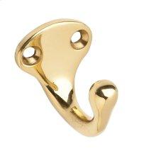 House Accessories  Single Wardrobe Hook - Bright Brass