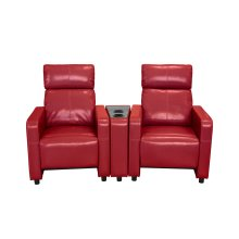 Arcadia Red Push-Back 2-Piece Reclining Theater Set