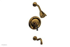 HENRI Pressure Balance Tub and Shower Set - Black Marble Lever Handle 161-28 - French Brass Product Image