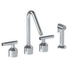 Deck Mounted 4 Hole Kitchen Set With Angled Spout - Includes Side Spray