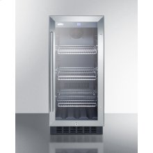 "15"" Wide Built-in Undercounter Glass Door Beverage Cooler for Home or Commercial Use, With Digital Controls, Lock, LED Light, and Black Cabinet"