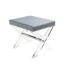 Acrylic X Base Stool With Nickel Stretcher and P01 Fabric