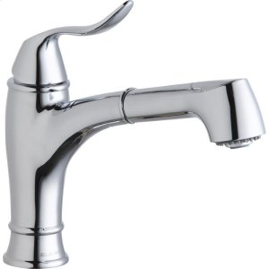 Elkay Explore Single Hole Bar Faucet with Pull-out Spray Lever Handle Chrome Product Image