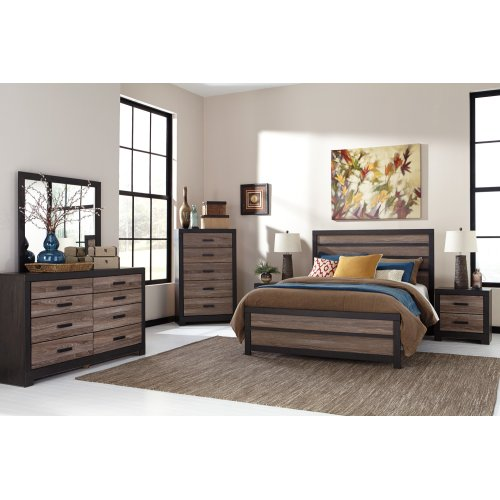Harlinton - Warm Gray/Charcoal 3 Piece Bed Set (Queen)