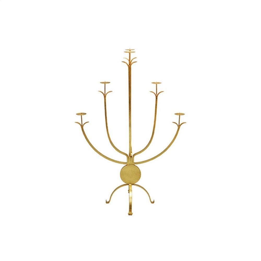 Large Five Arm Candle Holder In Gold Leaf