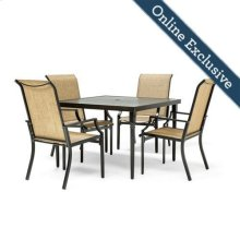 Addyson 5pc Sling Dining Set (Square table and 4 stationary)