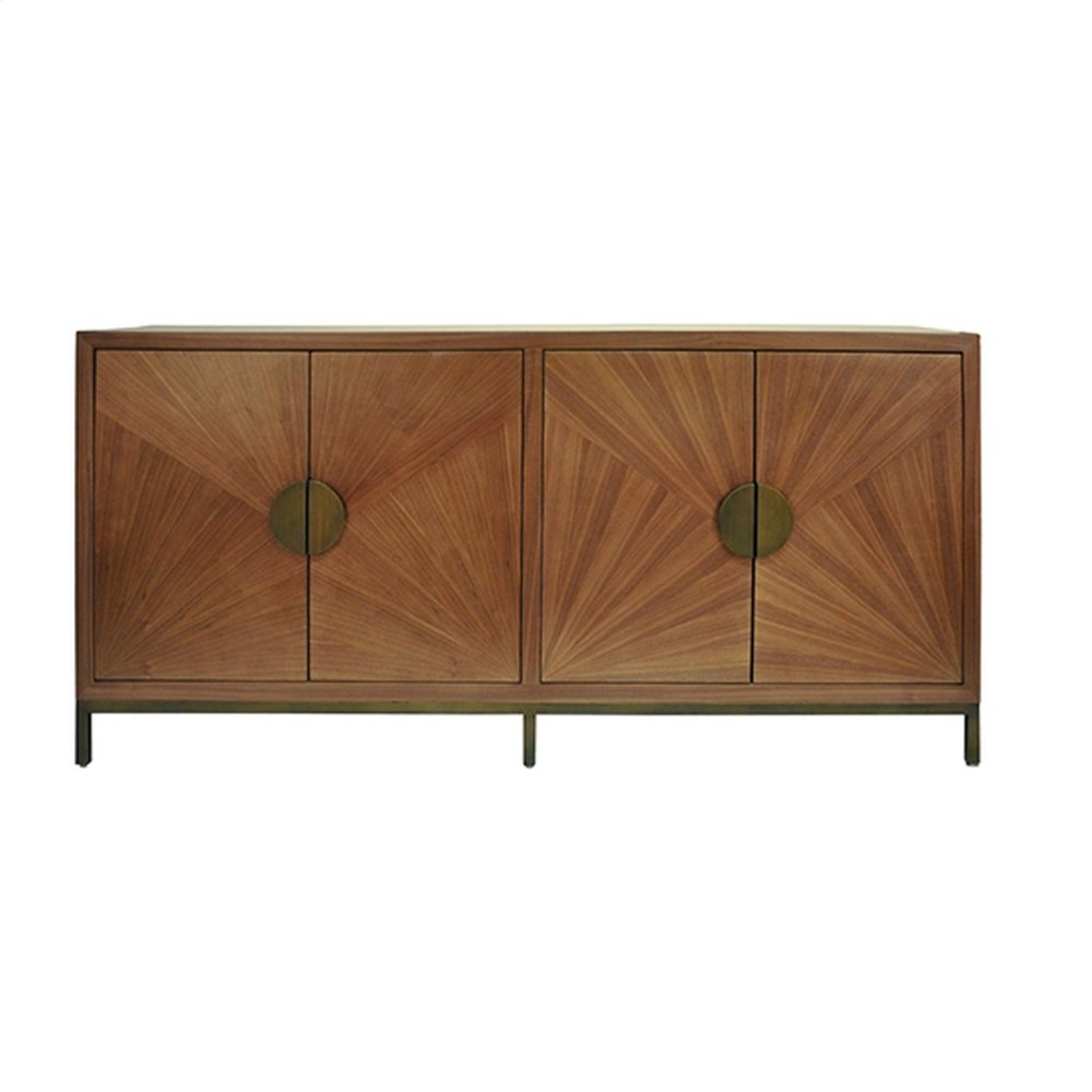 Radial Walnut Cabinet With Painted Bronze Legs and Hardware