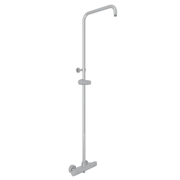 Polished Chrome Mod-Fino Exposed Wall Mount Thermostatic Shower With Diverter, Riser And Sliding Handshower Parking Bracket