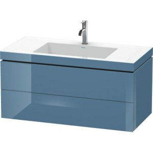 Furniture Washbasin C-bonded With Vanity Wall-mounted, Stone Blue High Gloss Lacquer