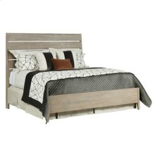 Symmetry Incline Queen Oak Bed W/ Medium Footboard
