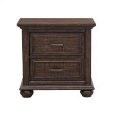 Paneled Wooden 2 Drawer Nightstand