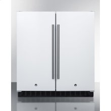 Frost-free Side-by-side Refrigerator-freezer for Built-in or Freestanding Use In White Finish With Locks, Stainless Steel Handles, and Digital Controls
