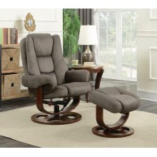 Cybele Casual Grey Chair With Ottoman